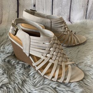 Cityclassified Dove Gray Wedge Sandals Size 10
